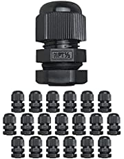 """MGI SpeedWare Strain Relief NPT Nylon Cord Grip Cable Glands - 20 Pack (1/2"""", Black)"""