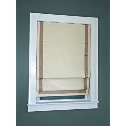 Green Mountain Vista Thermal Blackout Cordless Roman Shade with Ribbon Border, 38 by 63-Inch, Taupe