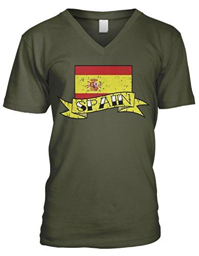 (Amdesco Men's Spain Flag with Banner, Flag of Spain V-Neck T-Shirt, Moss Green Small)