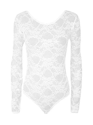 Hot Hanger Womens Long Sleeve Lace Floral Bodysuit Leotard Body Top UK 8-28(8-10 (SM), - Uk Hot Women