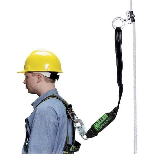 Image of Belay & Rigging Miller by Honeywell 8175SLS-Z7/3FTYL Trailing Rope Grabs with ANSI Z359.13 Compliant 3-Feet Sofstop Lanyard and Locking Snap Hook, Yellow