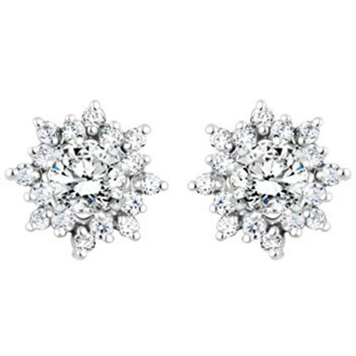 Sterling Silver Spectacular Halo Earring Jackets with Cubic Zirconia 0.96 ct. tw.