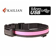 Kailian ® Safety USB Rechargeable & Solar charger Dog Collar Reflective Flashing Lights LED Waterproof Dog Collar--Pink--S