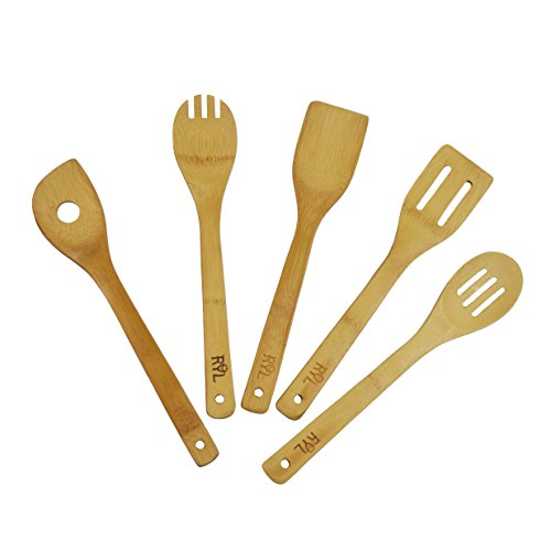Radiate Your Love Bamboo Utensil Set Eco-Friendly Organic Wood 5 Piece Non Scratch Set Includes Spoon, Slotted Spatula, Slotted Spoon,Turner, Single Hole Mixing Spoon For Nonstick Cookware Serving