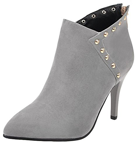 Women's Toe Suede Sexy Stiletto Back Mofri Boots Short Zipper Pointed Ankle High Gray Studded Heel Boots Faux Rivets Ufv6qd
