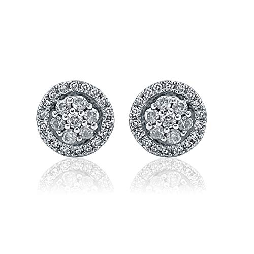 1/4 Carat Natural Diamond Earrings 10K Yellow Gold (H-I Color, I3 Clarity) Diamond Cluster Earrings for Women Diamond Jewelry Gifts for Women