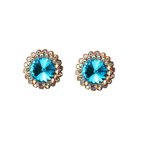 (HSQYJ Rose Gold Halo Earrings Cluster Round Halo Stud Earrings Blue Crystal Stud Earrings for Women Girl Gift)