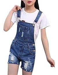 2e006919340 Girls Little Big Kids Distressed BF Jeans Cotton Denim Bib Overalls Summer  Shortalls 1P