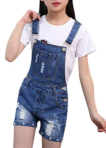 Girls Little Kids Boyfriend Ripped Bib Overalls Light Blue Summer Jeans Shortalls 140 Demin Blue Ripped ()