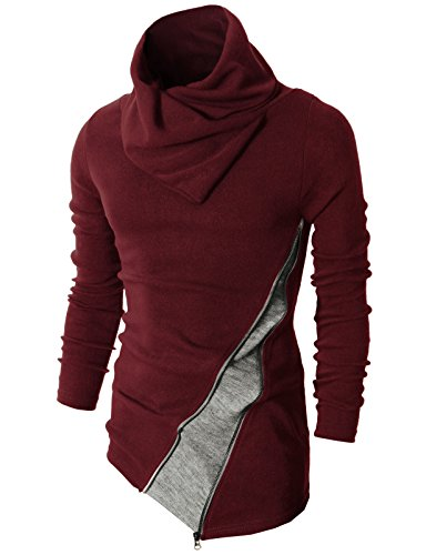 H2H Mens Fashion Turtleneck Slim Fit Pullover Sweater Oblique Line Bottom Edge MAROON US S/Asia M - Funnel Neck Tee