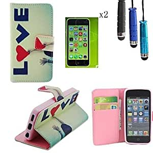 ZXSPACE LOVE Pattern PU Leather Cover with Card Slot with Touch Pen and Protective Film 2 Pcs for iPhone 5C