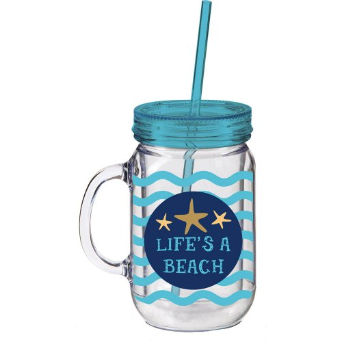 Cypress 2AJ011 Life's a Beach Double Walled Mason Jar Insulated Mug, 20 oz, Multicolored