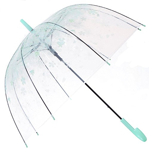 HAOCOO Cherry Blossoms Clear Umbrella,Bubble Transparent Fashion Dome Auto Open Umbrella Windproof for Outdoor Weddings (Green) ()