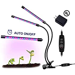 18W Plant Grow Light, Auto On & Auto Off Dual Head Grow Lamp, 3/9/12H Timer, Dimmable 5 Levels Adjustable 360 Degree Flexible Gooseneck for Indoor Plants [UL Listed, 2018 Upgraded]