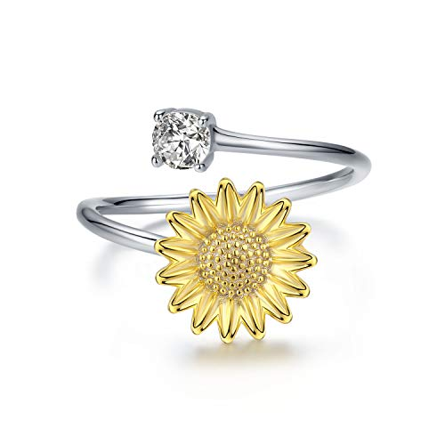 JUSTKIDSTOY Sterling Silver Adjustable Sunflower Flower Ring Open Band with Cubic Zirconia Stacking Finger Thumb Rings Jewelry for Women