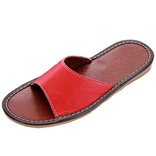 Home Indoor Slippers Sandals House Flat Open Leather Red Genuine Toe Unisex POCARTZ qwBR80FY
