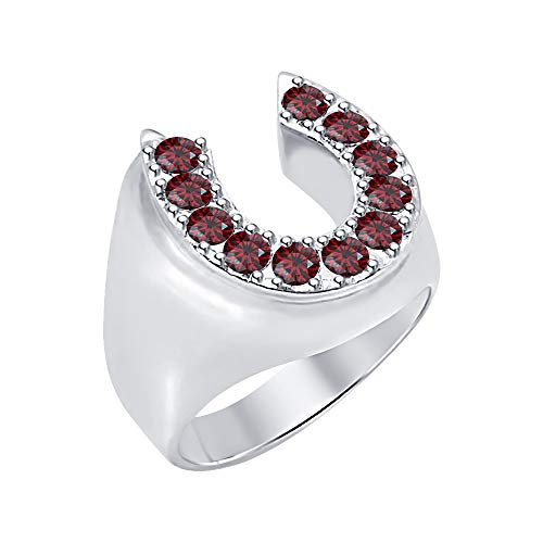 RUDRAFASHION Lucky Horse Shoe Round Cut Red Garnet 14K White Gold Over 925 Sterling Silver Men's Ring
