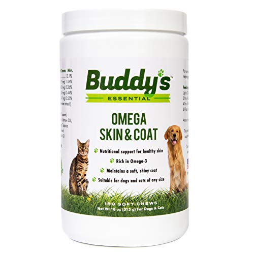 Buddy's Essential Dog Supplements and Dog Vitamins, Omega Skin and Coat Chews for Dogs and Cats – 180 Soft Chews – Rich with EPA and DHA- Salmon Fish Oil – Supports Healthy Skin and Coat