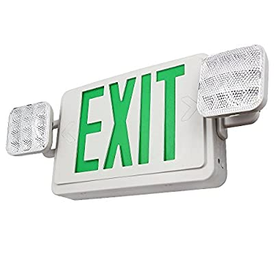 TORCHSTAR ALL LED Dual/Single Face Combo EXIT Sign and Emergency Light - w/ Dual Square Head Lights and Rechargeable Battery Backup - US Standard Double Face Lighted EXIT Sign