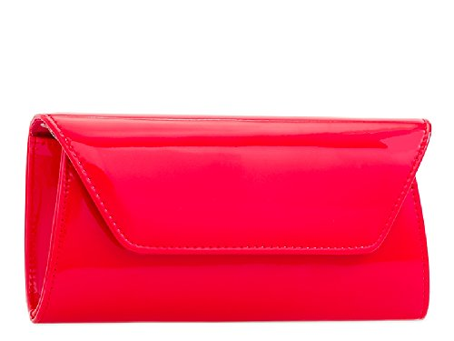 Clutch Bag KL2250 Party Ladies Envelope Purse Handbag Women's Evening Red Patent 4ExAqwR