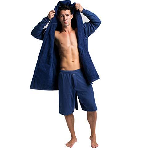 DudeRobe Men's Hooded Towel-Lined Bathrobe, Super Absorbent Luxury Robe for Men, L/XL, Navy Blue