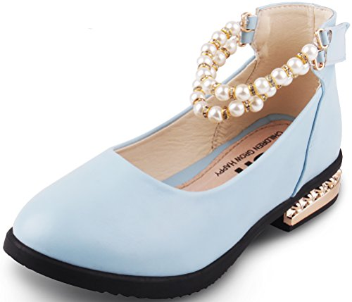 VECJUNIA Girl's Unique Low Heel Ankle-Strap Sandals Shoes With Pearls (Blue, 10.5 M US Little Kid)