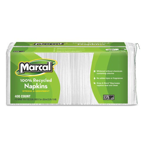 Marcal 6506 100% Recycled Luncheon Napkins, 12 1/2 x 11 2/5, White, 2400/Carton