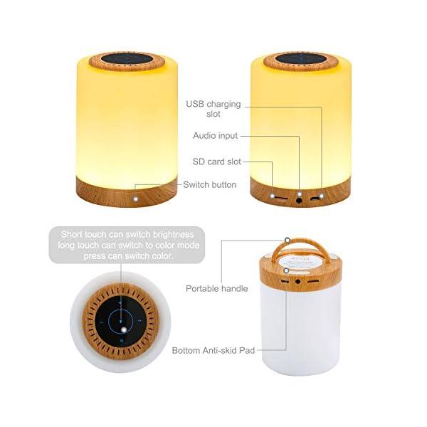 TAIPOW Lampe de Chevet LED Touch Portable avec Enceinte Bluetooth, Veilleuse Multicolore Disco Light Lecture de MP3 Support TF AUX-IN USB Rechargeable, Cadeau pour Adulte Ados Enfants Bébé 2