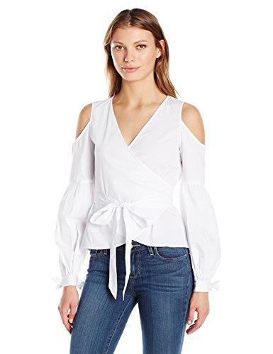 Nicole Miller Women's Cotton Poplin Wrap Cold Shoulder Top, White, Small