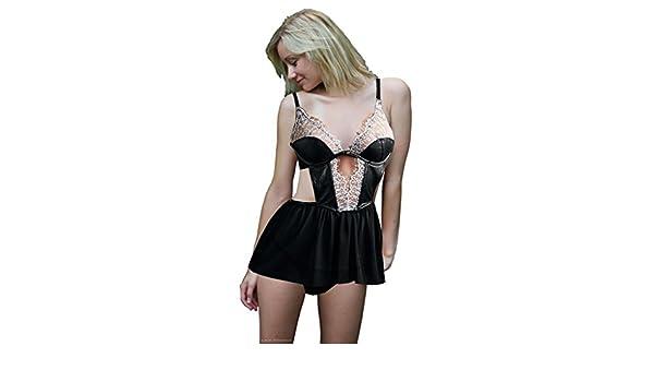6fcea34c55 Victoria s Secret Women s V String One Size Black Faux Lace   Apron  Babydoll 34 C at Amazon Women s Clothing store