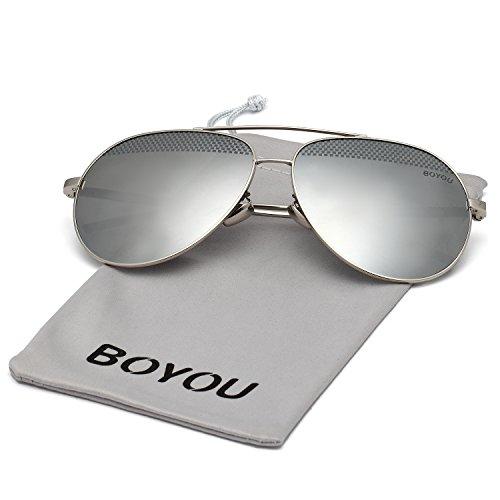 BOYOU Gafas de sol lente de espejo aviador clásicos con protección ... d9e66a5934de
