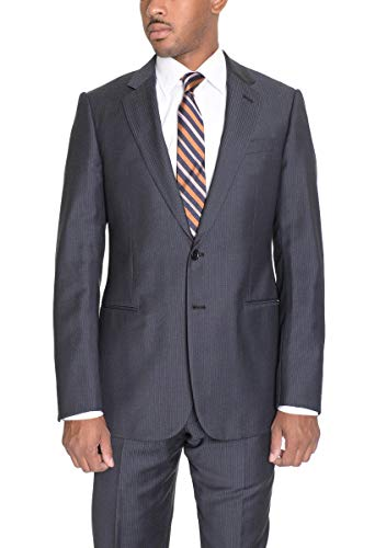 (Armani Collezioni Slim Fit 38R 48 Gray And Blue Striped Two Button Wool Suit)