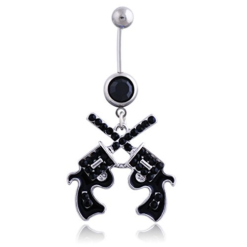 Sunflower Western Cowgirl Revolver Pistol Gun Dangle Belly Button Navel Ring Body Jewelry (Black) (Belly Button Rings Western)