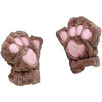 Faux Fur Cat Paw Fingerless Gloves Mittens for Women Girls