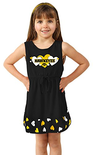 Cheekie Peach NCAA Iowa Hawkeyes Girls Infant Heart Dress, 0-3 Months, Black