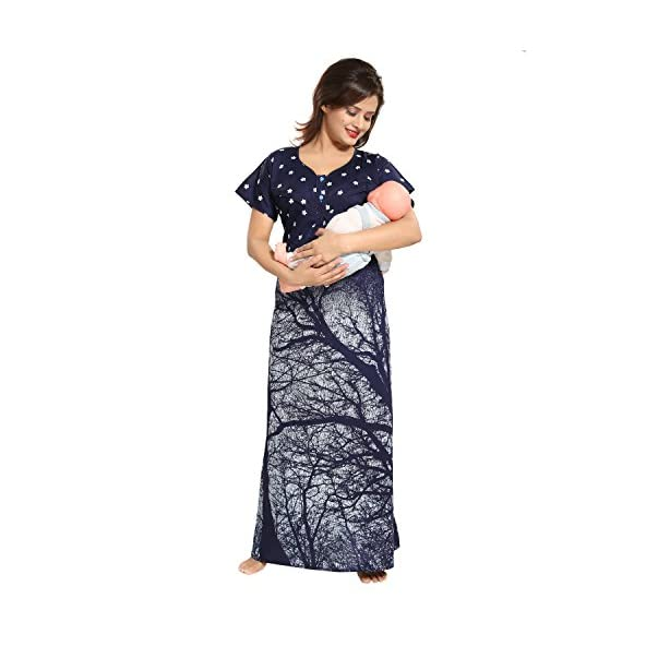 TUCUTE Women's Cotton Printed Feeding/Maternity/Nursing Nighty Style: 1355 Blue