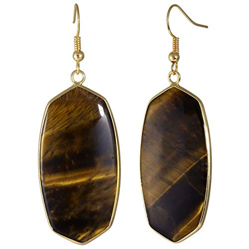 TUMBEELLUWA Crystal Quartz Stone Dangle Hook Earrings Oval Gold Plated, Tiger's Eye Stone