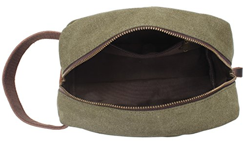 My style garment MSG Vintage Leather Canvas Travel Toiletry Bag Shaving  Dopp Kit  A001 873bb2f39291f