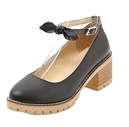 Odomolor Women's PU Buckle Round Closed Toe Kitten-Heels Solid Court Shoes Black 4t9Xbf2