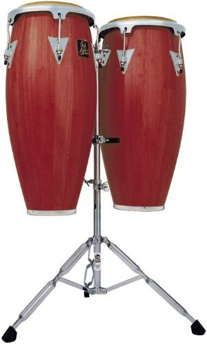 (Latin Percussion LPA646-DWC Aspire Wood 10-Inch and 11-Inch Conga Set with Double Stand - Dark Wood/Chrome)