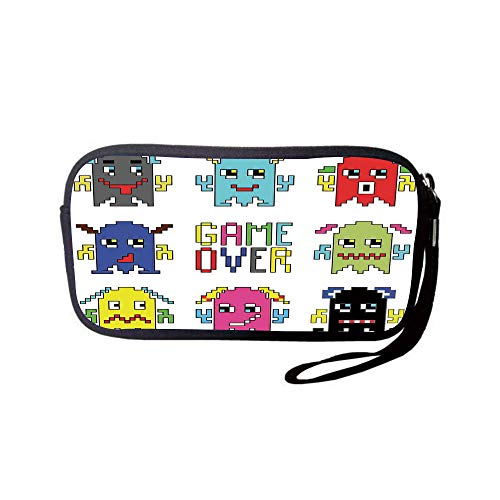 iPrint Neoprene Wristlet Wallet Bag,Coin Pouch,90s,Pixel Robot Emoticons  with Game Over Sign Inspired by 90s Computer Games Fun Artprint,Yellow