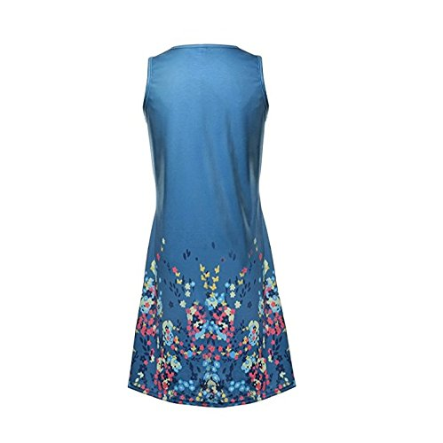 Printed Dress SYGoodBUY Blue Pleated Sexy Floral Beach 123 Woman Casual Short Dress Sleeveless Summer FBxnqq8zwS