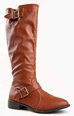 Bamboo Asiana-08n Classic Knee High Buckle Riding Boot
