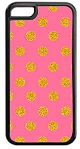 Gold Polka Dots on Pink- Case for the Apple Iphone 6 Plus Only- Hard Black Plastic Snap On Case