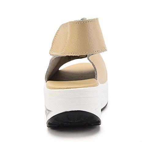 Form Sandalen Damen Leder Stöckelschuhe Weiß XMeden UPS Toe Wedges Beige Peep Comfort Sneakers Walking Plattform 8q00Fw