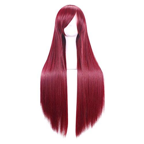 C-zofek Steins Gate Makise Kurisu Straight Cosplay Wig Scarlet 100cm (Scarlet) -