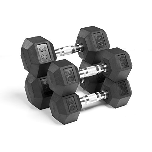 XMark Rubber Coated Hex Dumbbells, Sold in Sets for Greater Savings, Premium Quality, Nothing Basic About These, Built Tough, Built to Last