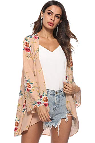 kyrakiss Womens Chiffon Bikini Swimsuit Cover up Cardigan Summer Beach Floral Loose Long Sleeve Casual Kimono Cardigan Caps