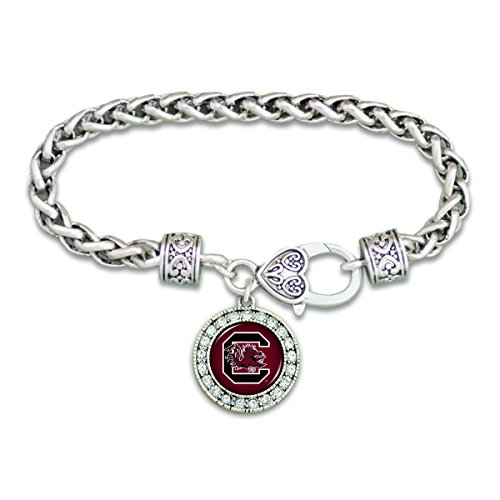 Garnet Clasp - FTH South Carolina Gamecocks Clasp Bracelet with Round Team Logo and Embellished with Crystals