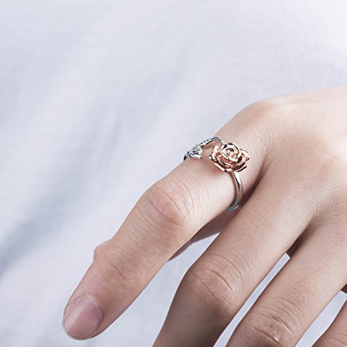 95f298d53bbe Meow Star Rose Ring for Woman Flower Leaf Ring Adjustable Rings for Teen  Girls (red